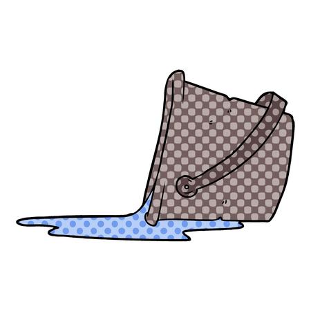 cartoon spilled bucket of water Vector illustration.