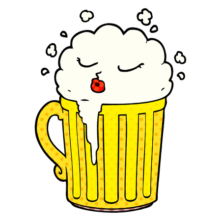 cartoon mug of beer Vector illustration.  イラスト・ベクター素材