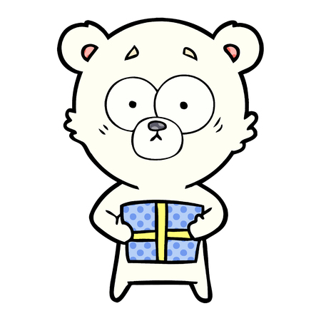 nervous polar bear cartoon with gift Vector illustration. Stock Illustratie