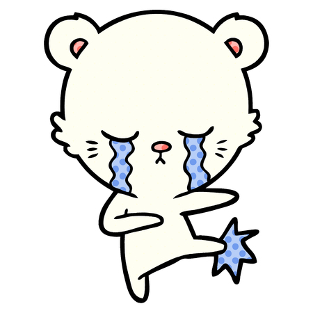 crying cartoon polar bear Vector illustration.