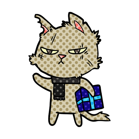 tough cartoon cat with christmas present Vector illustration.