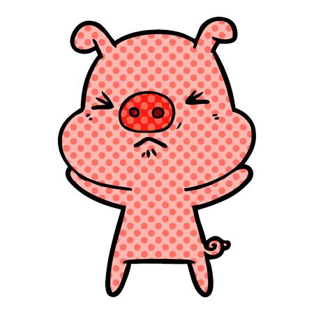Cartoon angry pig illustration on white background. Illustration