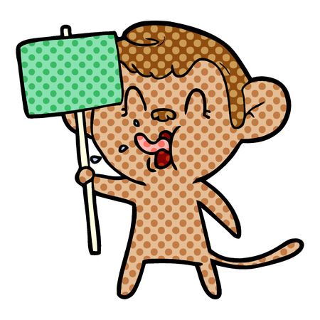 crazy cartoon monkey with sign Vector illustration.