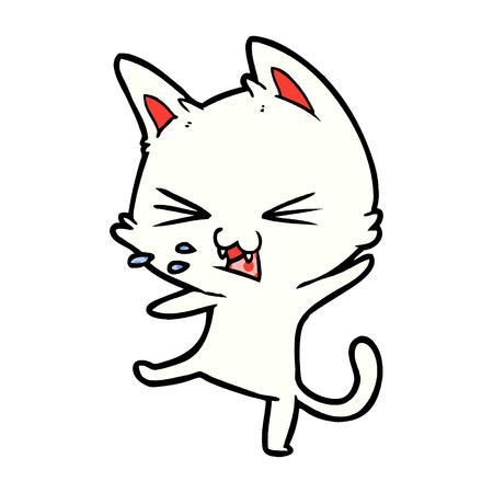 白い背景にかんしゃくしたイラストを投げる漫画猫。