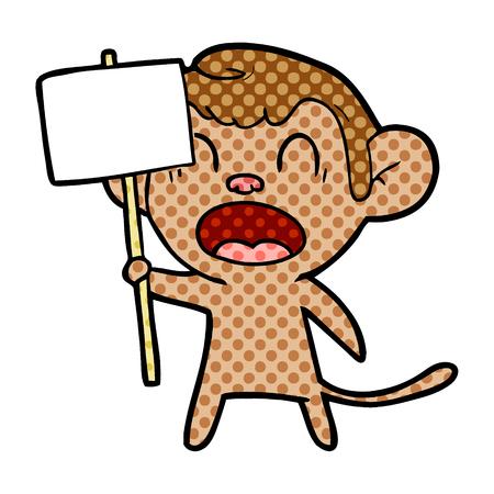 shouting cartoon monkey Vector illustration.