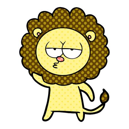 Cartoon bored lion waving illustration on white background.