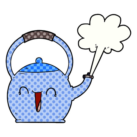 A cartoon boiling kettle isolated on white background.