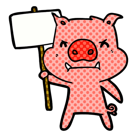 Angry cartoon pig protesting isolated on white background.