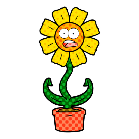 cartoon shocked flower Vector illustration.