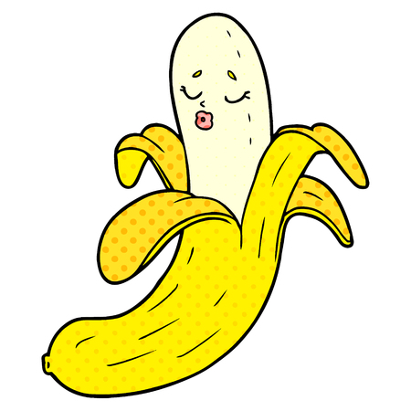 cartoon best quality organic banana Vector illustration. Stock Illustratie