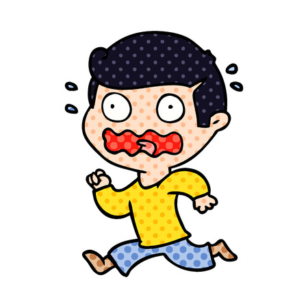cartoon man totally stressed out Vector illustration. Ilustração