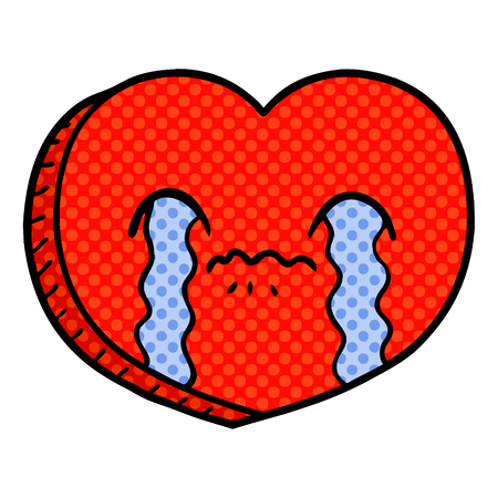 cartoon crying love heart Vector illustration.
