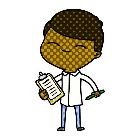 cartoon smiling man with clip board Vector illustration.