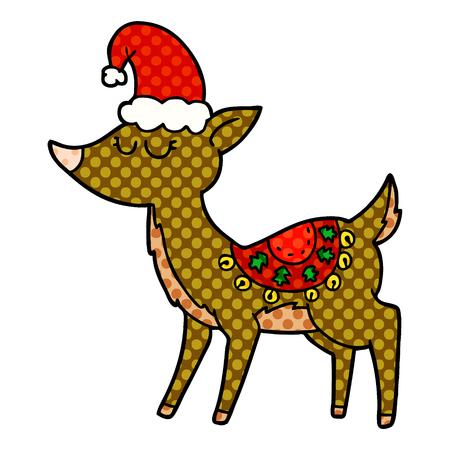 Cartoon reindeer illustration on white background. Illustration