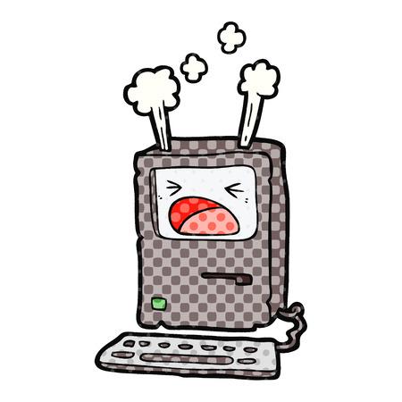 Cartoon oververhitting computer illustratie op witte achtergrond.