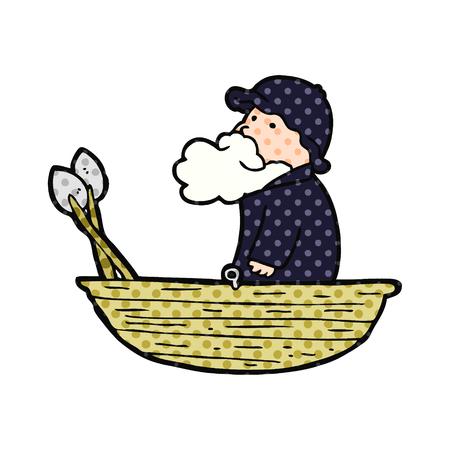 cartoon fisherman Vector illustration.