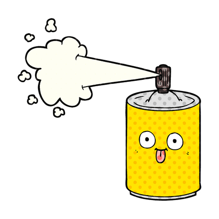 A cartoon aerosol spray can isolated on white background.