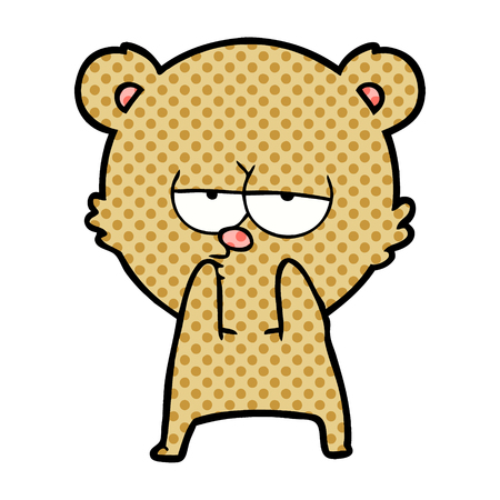 bored bear cartoon Vector illustration. Illustration