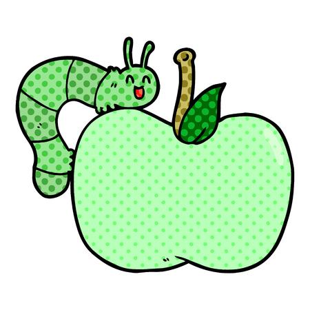 cartoon apple and bug Vector illustration.