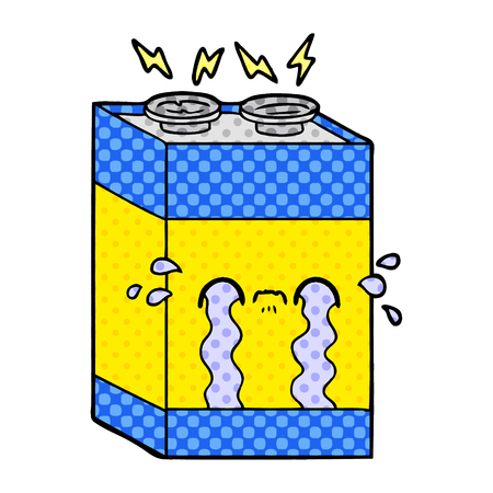 cartoon crying battery Vector illustration. Ilustrace
