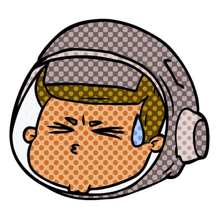 Cartoon stressed astronaut face illustration on white background. Stock Illustratie