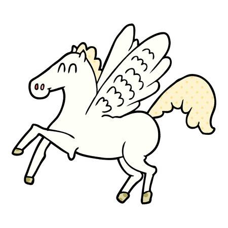 cartoon winged horse Vector illustration. 일러스트