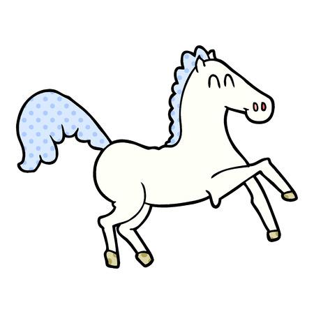 Cartoon horse rearing up illustration on white background.