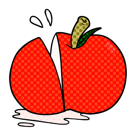 cartoon sliced apple Vector illustration.