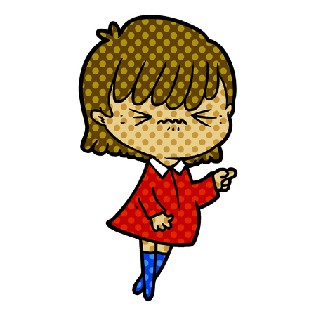 annoyed cartoon girl making accusation Vector illustration. Illustration