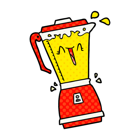 whirring cartoon food processor Vector illustration.
