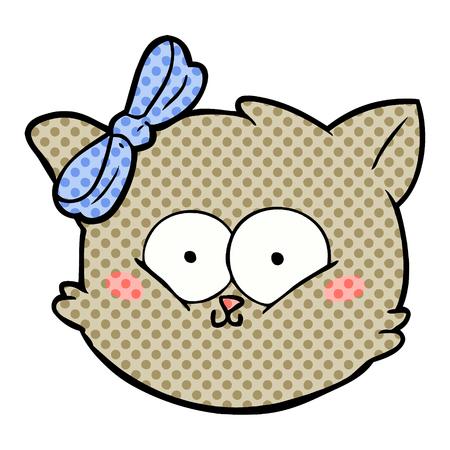 cute cartoon kitten face Vector illustration.