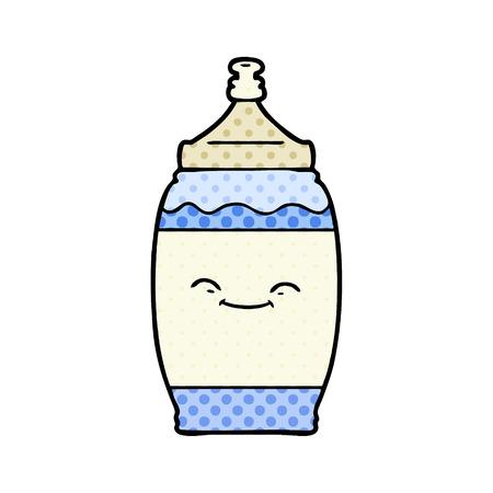 Cartoon happy water bottle illustration on white background.
