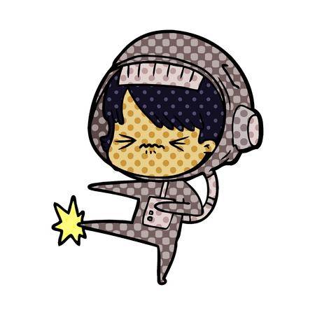 angry cartoon space girl stubbing toe Vector illustration. Ilustração