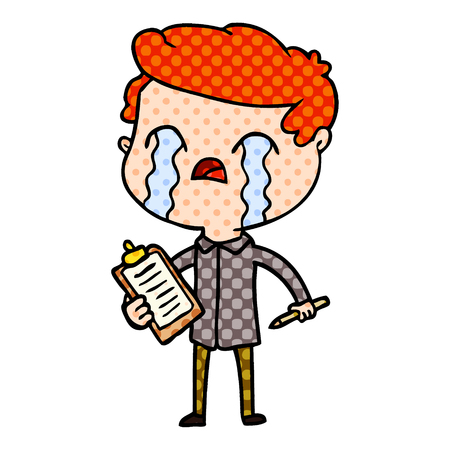 cartoon salesman crying Vector illustration. 일러스트