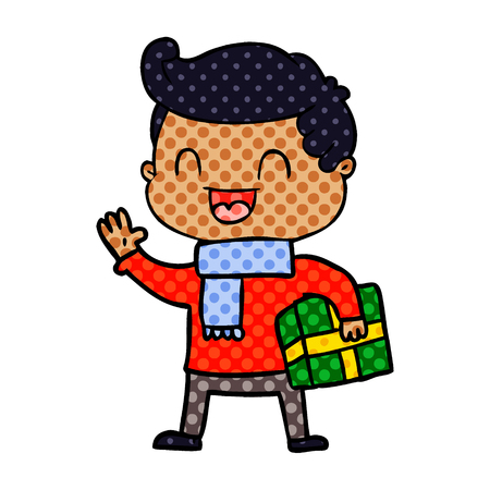 cartoon laughing man holding gift Vector illustration.