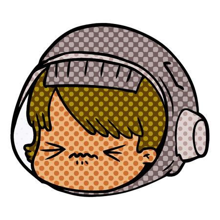 cartoon stressed astronaut face Vector illustration. Stock Illustratie