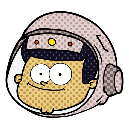 A cartoon astronaut face isolated on white background.