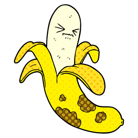 Cartoon rotten banana illustration on white background.