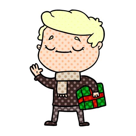 cartoon man carrying christmas present waving Illusztráció