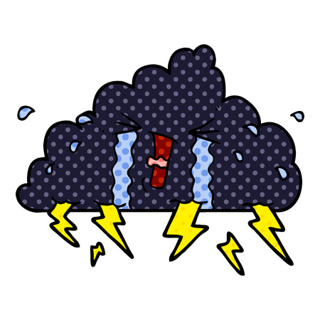 cartoon thundercloud Vector illustration. Çizim