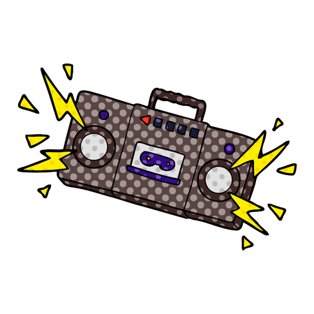 Retro cartoon tape cassette player blasting out old rock tunes. Illustration