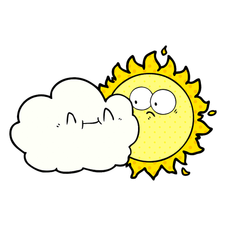 Nuage de dessin animé mignon et soleil Vector illustration. Banque d'images - 95672659
