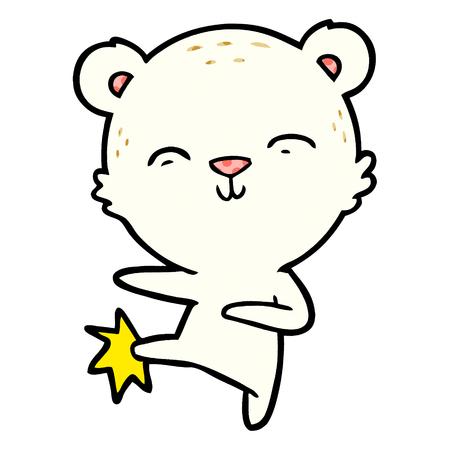 幸せな漫画ホッキョクグマ蹴るベクターイラスト。