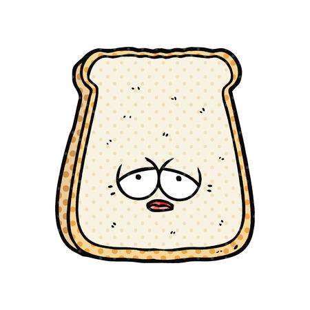 Cartoon tired old slice of bread illustration on white background. Illustration