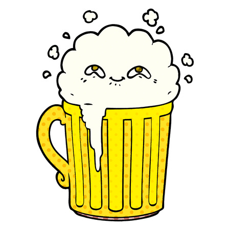 happy cartoon mug of beer Vector illustration.