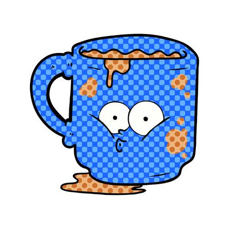 cartoon dirty office mug Vector illustration.