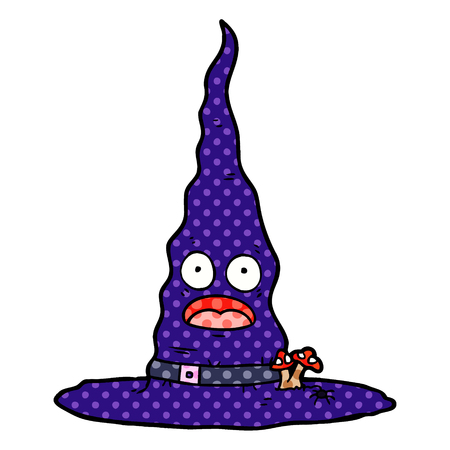 cartoon witchs hat Vector illustration isolated on white background. Stock Illustratie