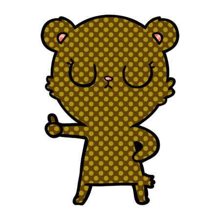 peaceful cartoon bear cub Vector illustration isolated on white background.