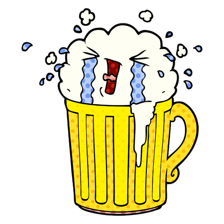 cartoon mug of beer crying Vector illustration isolated on white background. 向量圖像