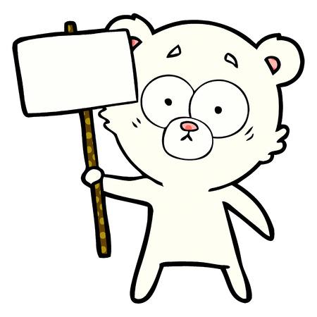 Nervous polar bear cartoon with protest sign illustration on white background.